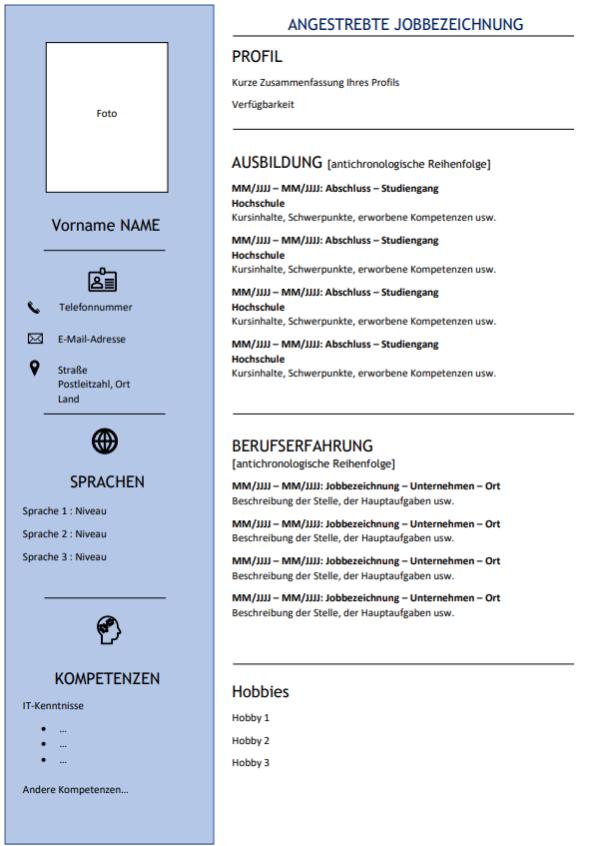 CV modèle 5 allemand