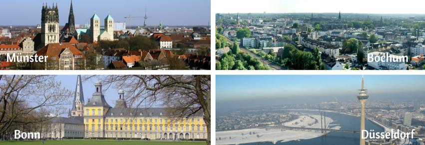 Münster, Bonn, Bochum, Düsseldorf